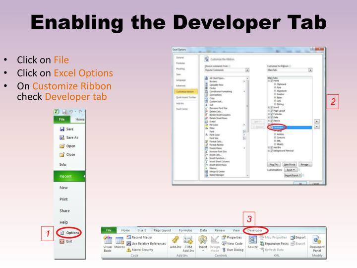 Enabling the Developer Tab