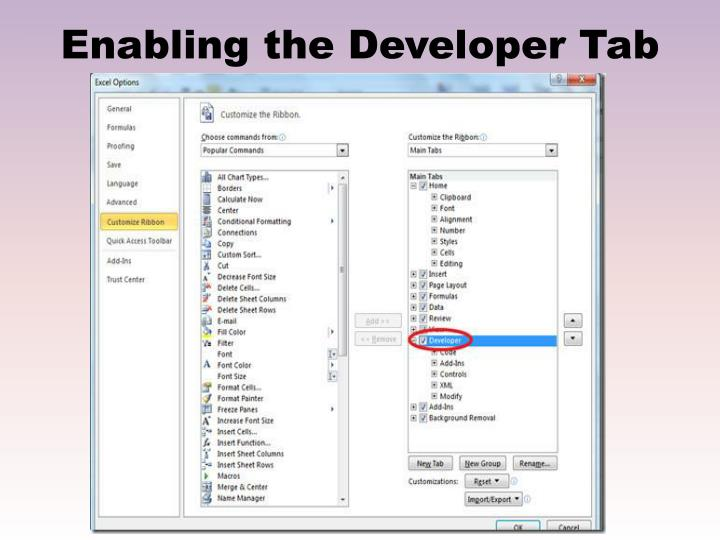 Enabling the Developer Tab