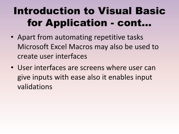 Introduction to Visual Basic for Application - cont…