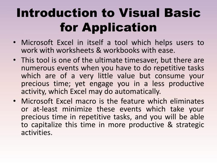 Introduction to Visual Basic for Application