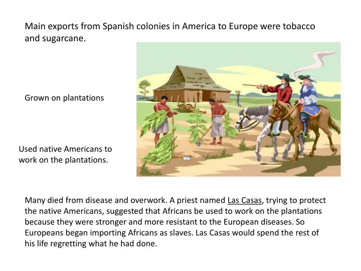 Main exports from Spanish colonies in America to Europe were tobacco and sugarcane.