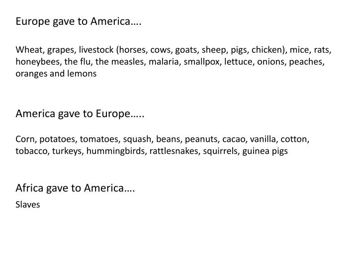 Europe gave to America….