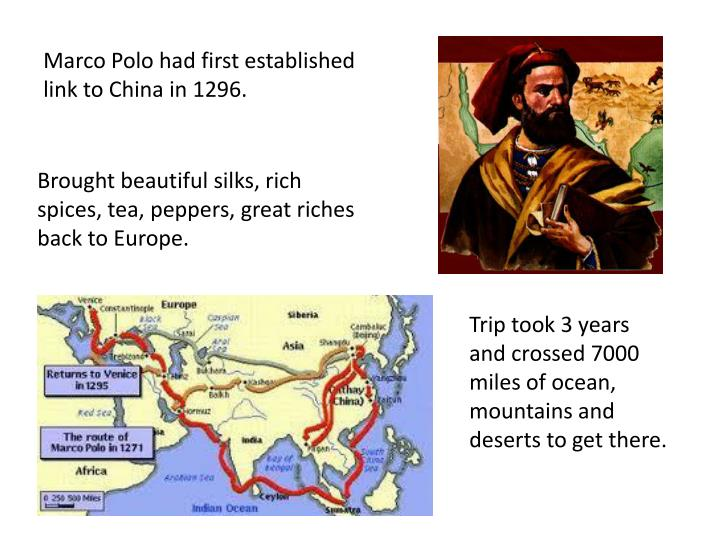 Marco Polo had first established link to China in 1296.