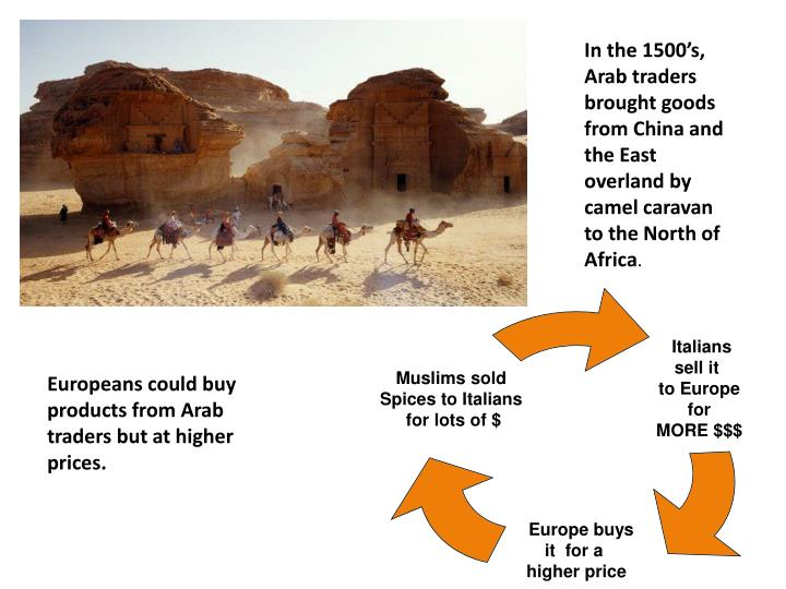 In the 1500's, Arab traders brought goods from China and the East overland by camel caravan to the North of Africa