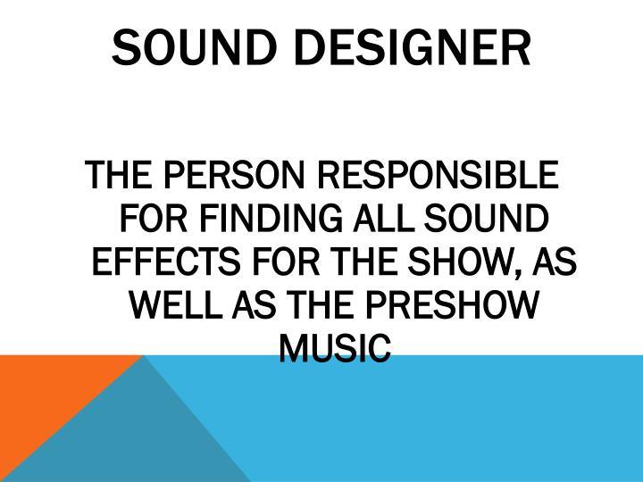 SOUND DESIGNER