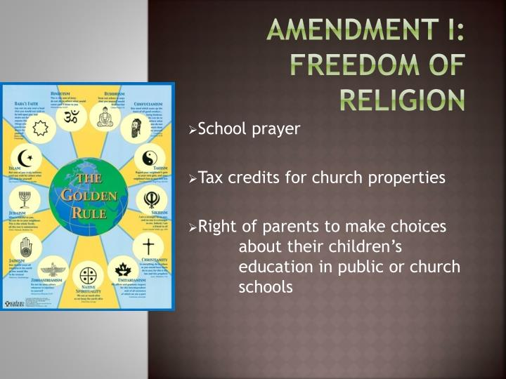 Amendment i freedom of religion