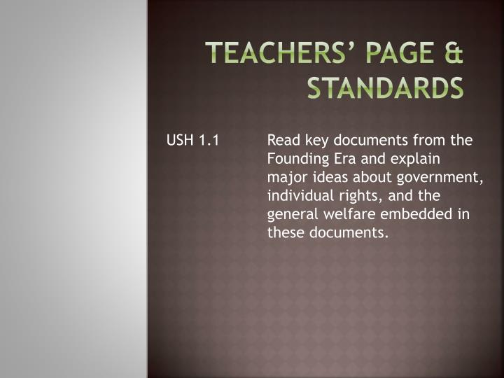Teachers' page & standards