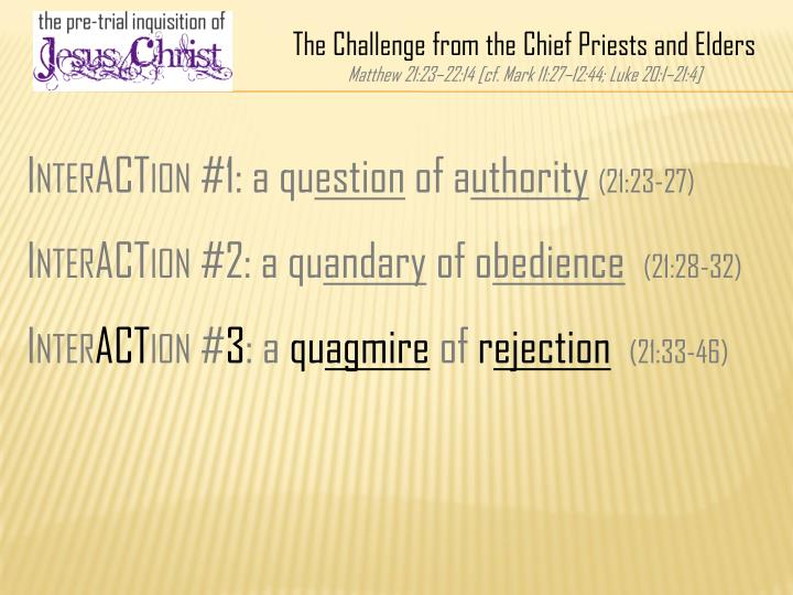 The Challenge from the Chief Priests and Elders