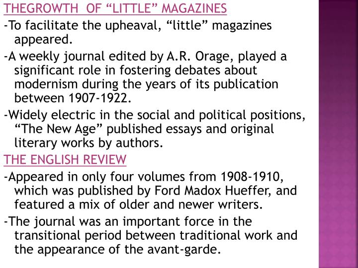 "THEGROWTH  OF ""LITTLE"" MAGAZINES"