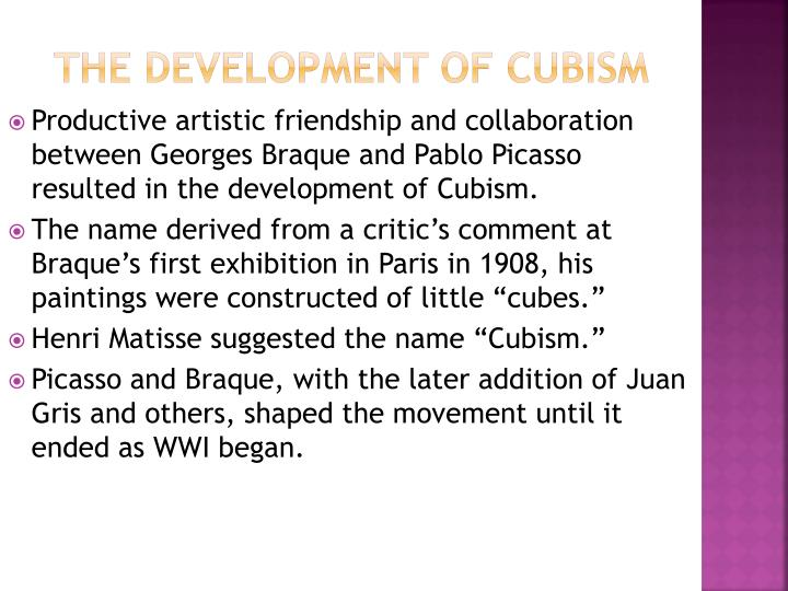 The development of cubism