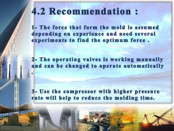 4.2 Recommendation :