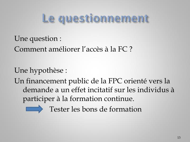 Le questionnement