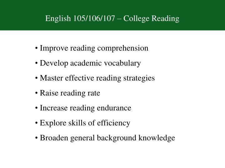 English 105/106/107 – College Reading