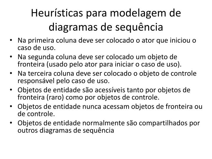 Heurísticas para modelagem de diagramas de