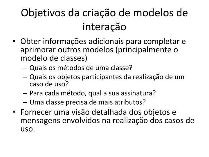 Objetivos da criação de modelos de interação