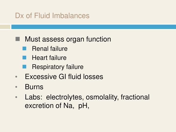 Dx of Fluid Imbalances