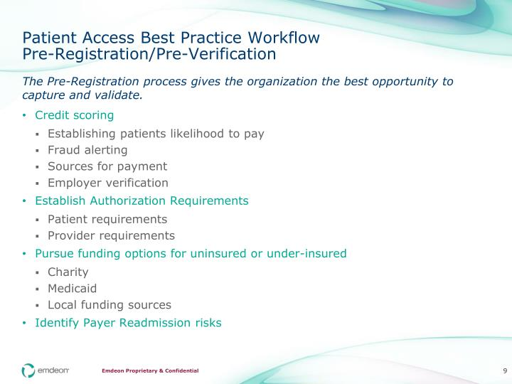 Patient Access Best Practice Workflow