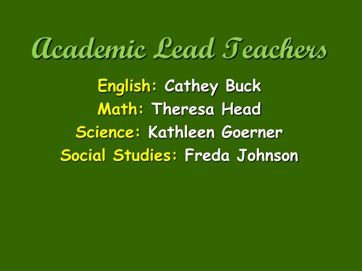 Academic lead teachers