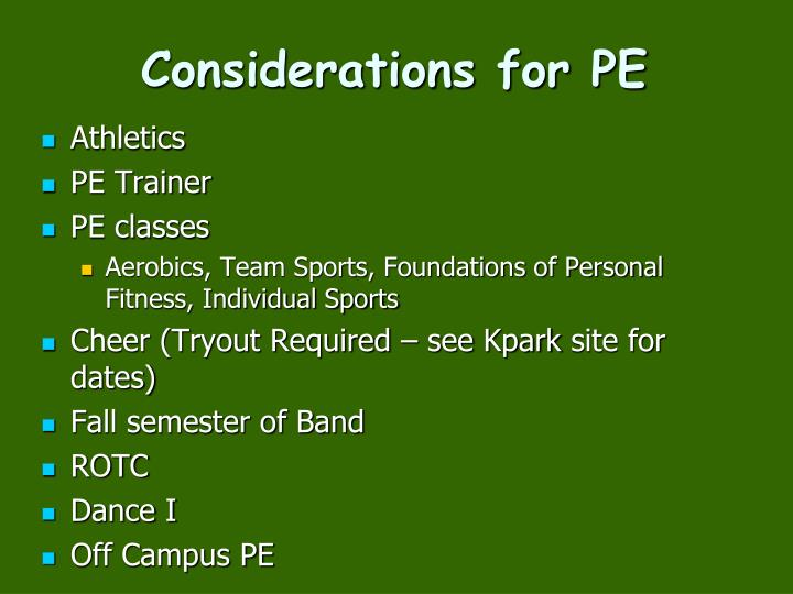 Considerations for PE