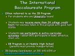 the international baccalaureate program