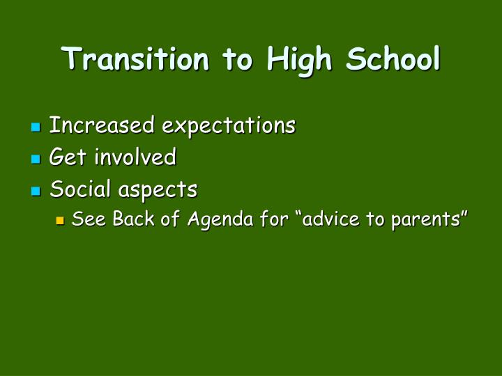Transition to High School