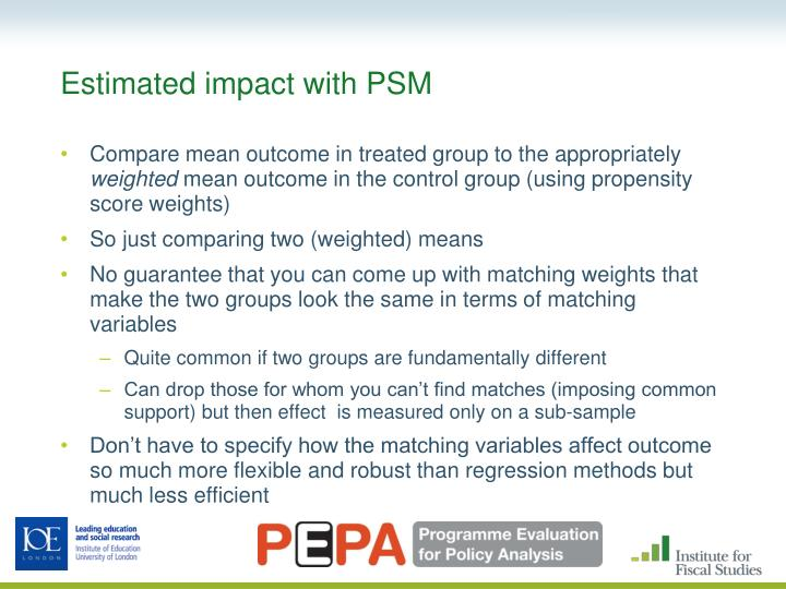 Estimated impact with PSM