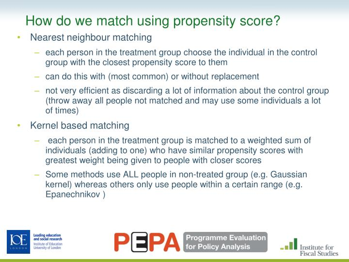 How do we match using propensity score?