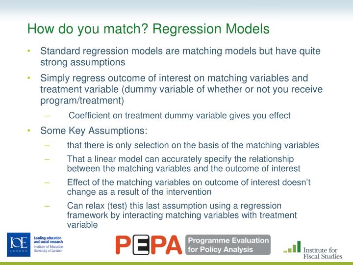 How do you match? Regression Models