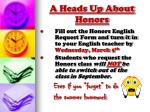 a heads up about honors