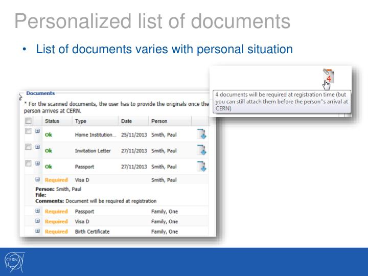 Personalized list of documents