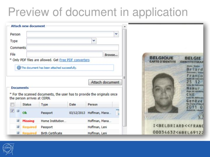 Preview of document in application