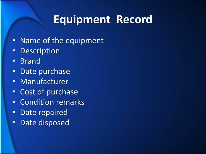 Equipment  Record