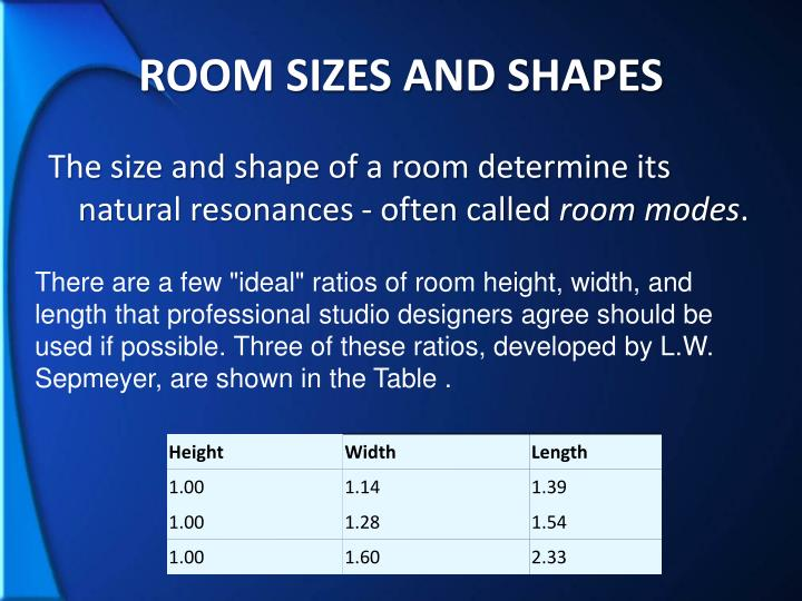 ROOM SIZES AND SHAPES