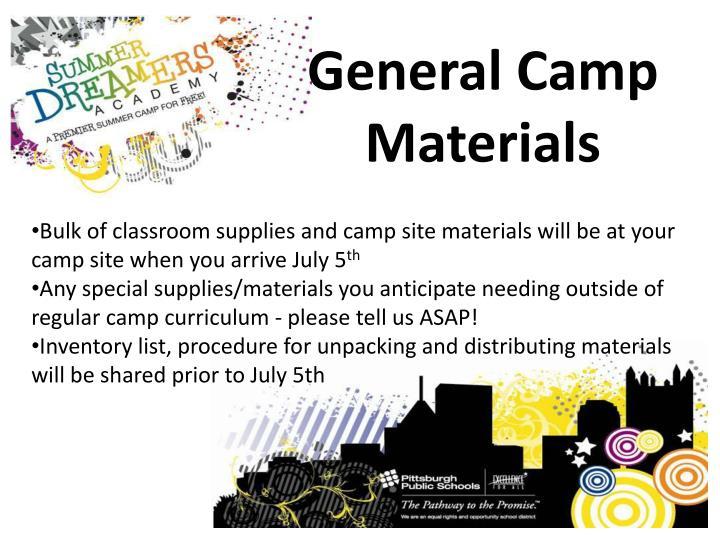 General Camp Materials