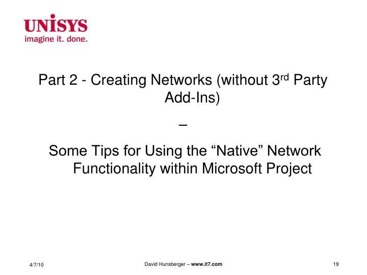 Part 2 - Creating Networks (without 3