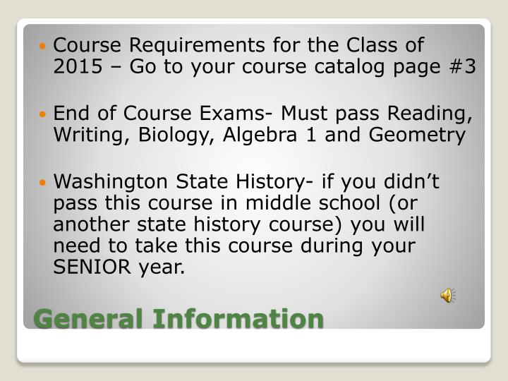 Course Requirements for the Class of 2015