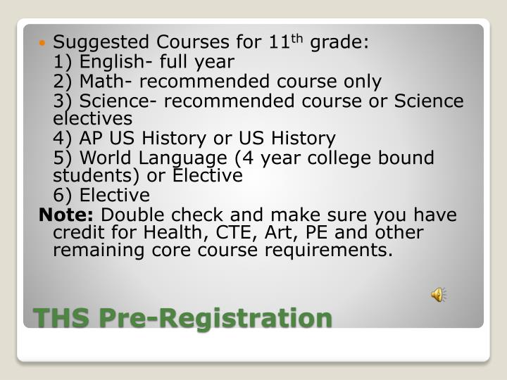 Suggested Courses for 11