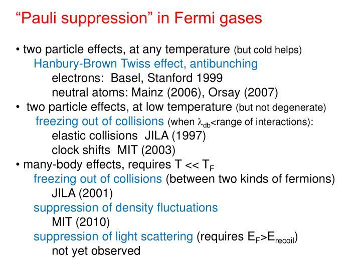 """""""Pauli suppression"""" in Fermi gases"""