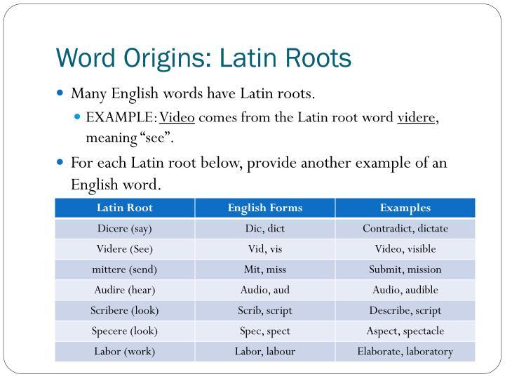 Word Origins: Latin Roots