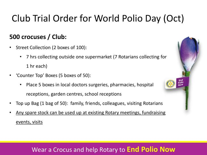 Club Trial Order for World Polio Day (Oct)