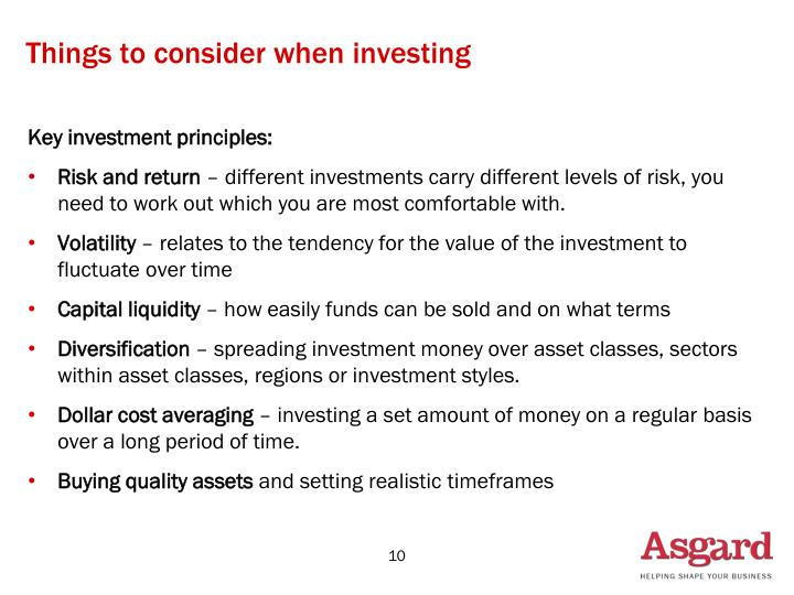 Things to consider when investing