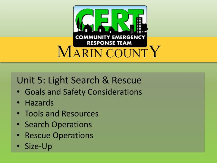 Unit 5: Light Search & Rescue