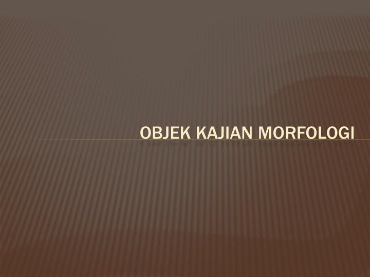 Objek Kajian morfologi