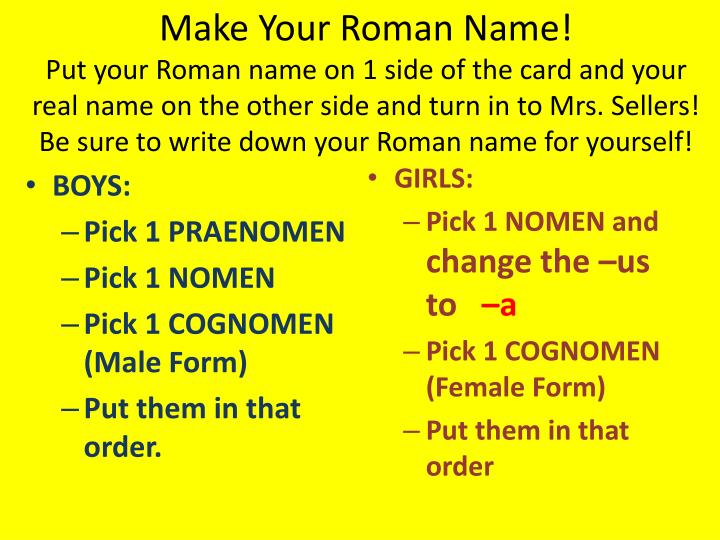 Make Your Roman Name!