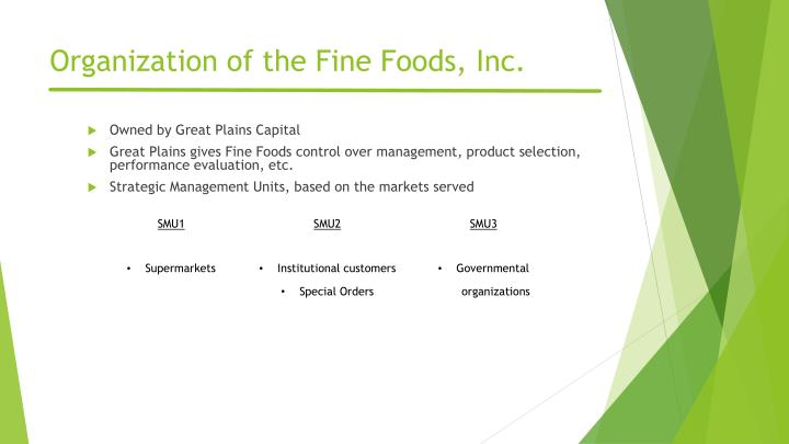 Organization of the fine foods inc