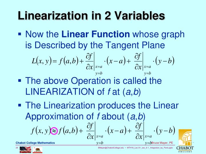 Linearization in 2 Variables