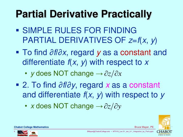 Partial Derivative Practically