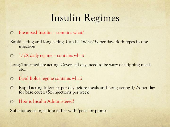 Insulin Regimes