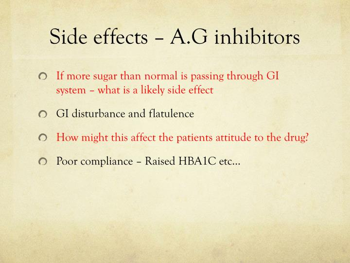 Side effects – A.G inhibitors
