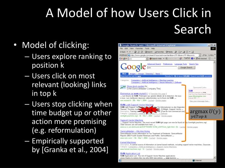 A Model of how Users Click in Search
